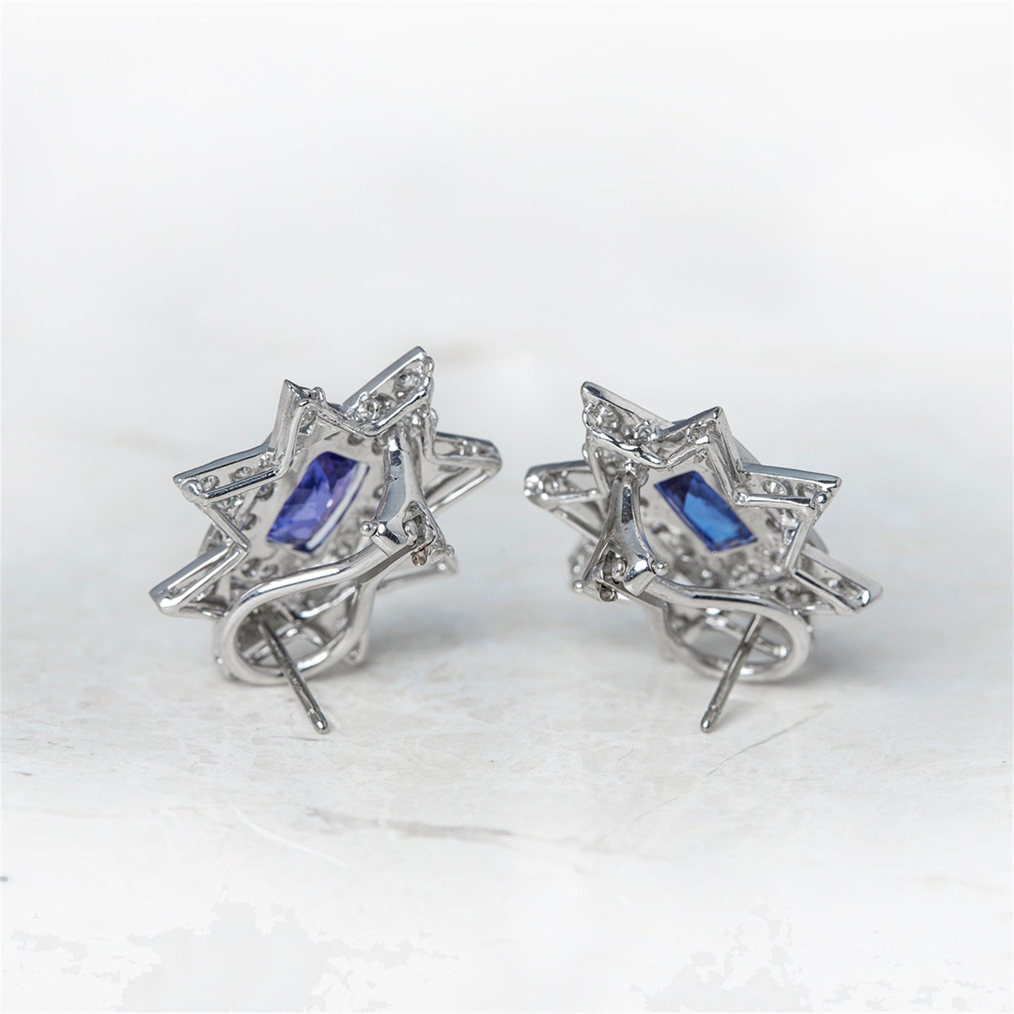 Tanzanite 18k White Gold Tanzanite & Diamond Star Design Earrings