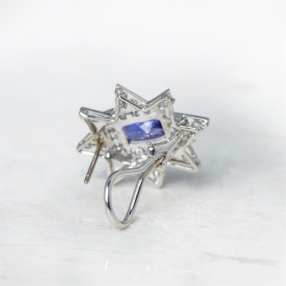 Tanzanite  18k White Gold 3.00ct Tanzanite & 2.08ct Diamond Star Earrings