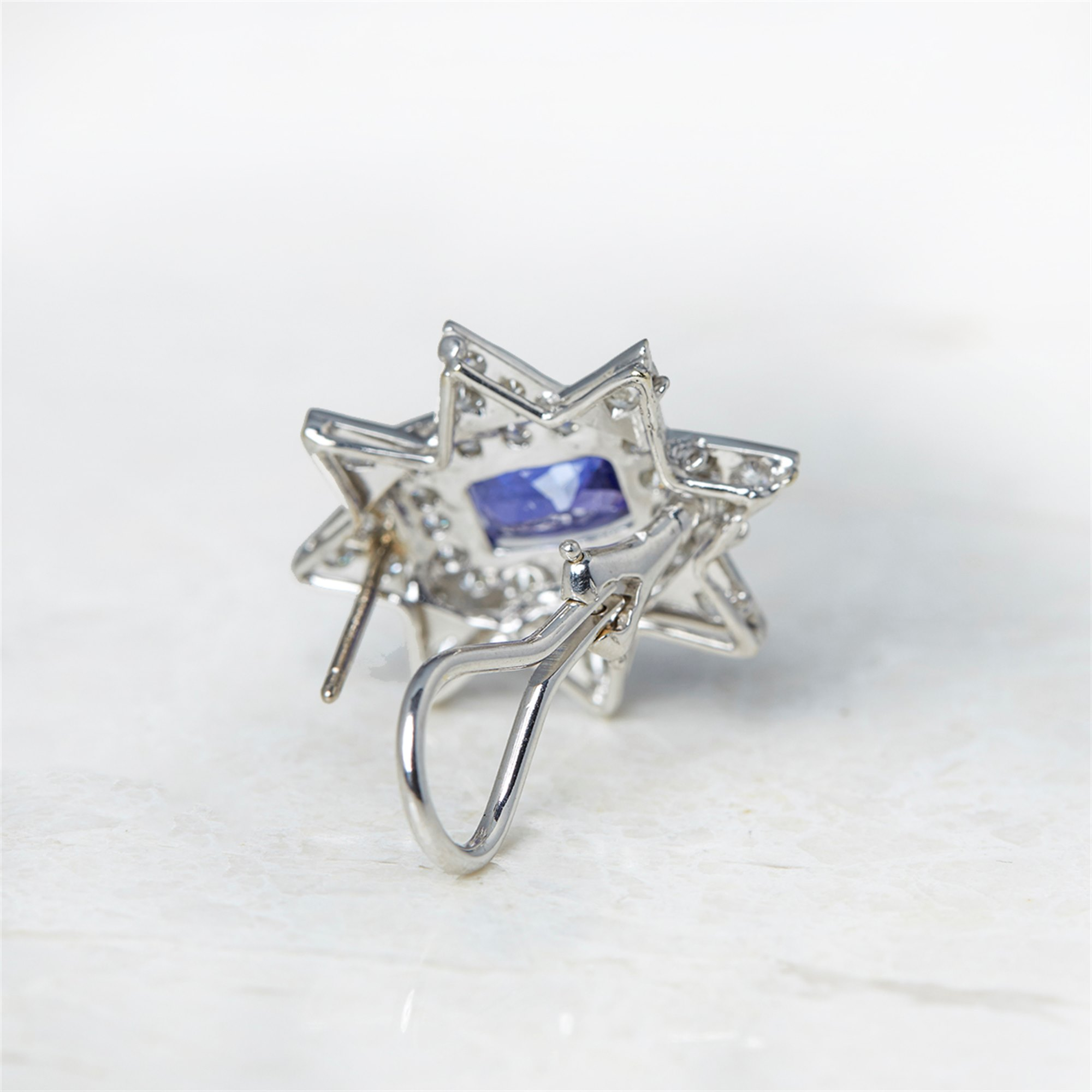 Diamond 18k White Gold Tanzanite & Diamond Star Design Earrings