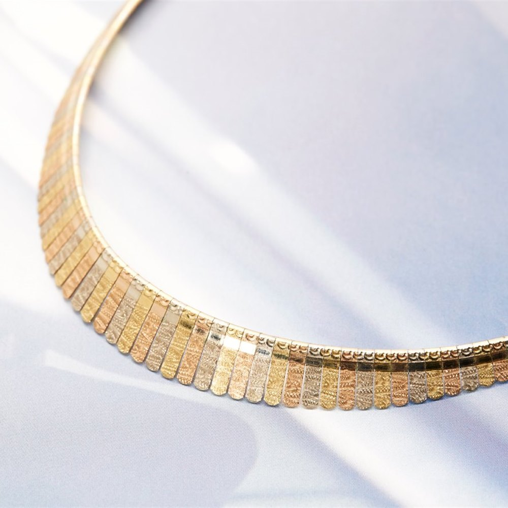 18k White, Yellow and Rose Gold 18k White, Yellow & Rose Gold Collar Necklace