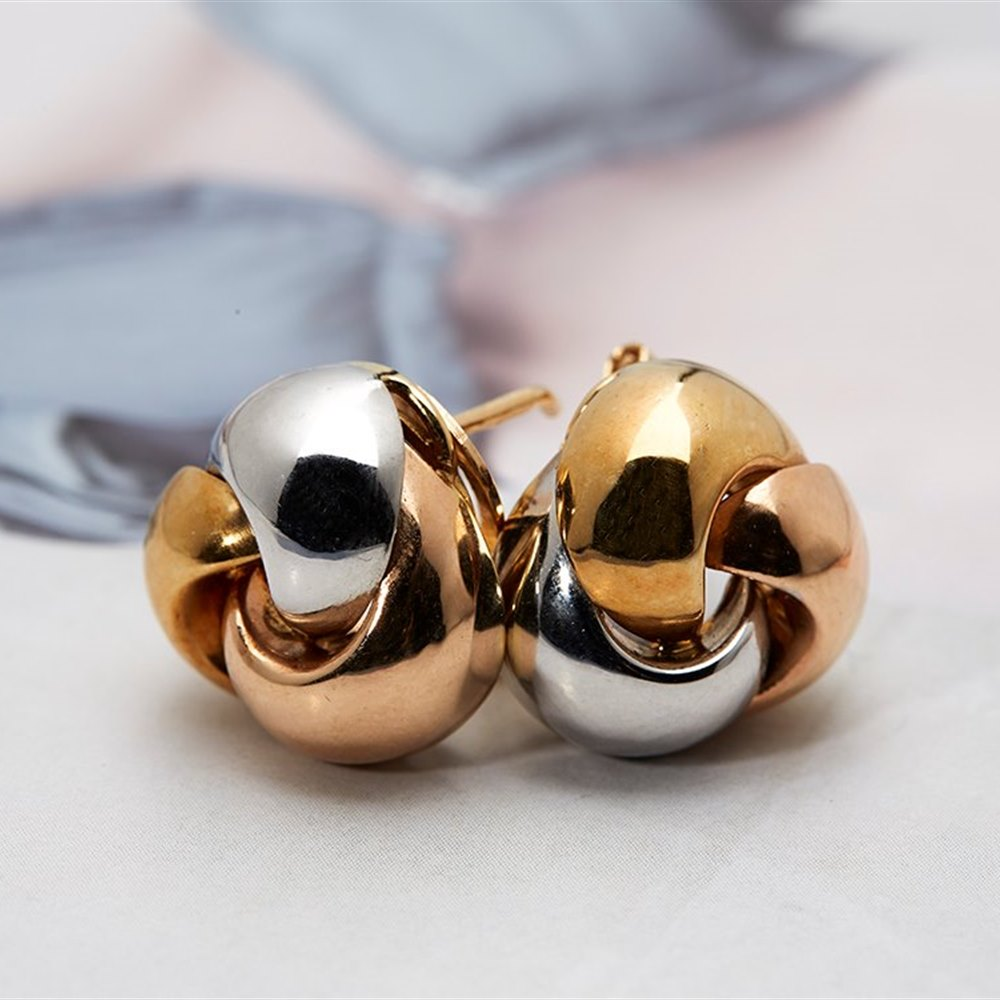 18k White, Yellow & Rose Gold 18k White Yellow & Rose Gold Knot Earrings