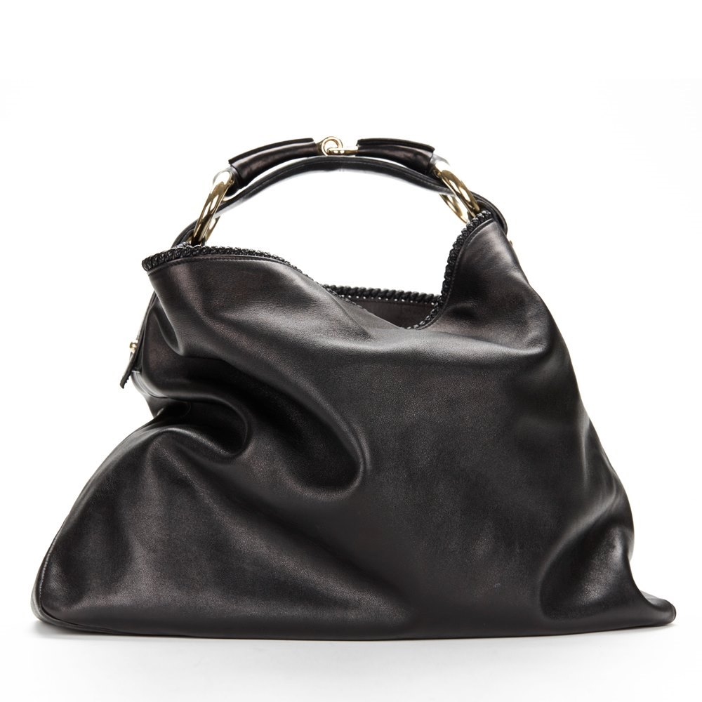 75110f86ddc6e Black Leather Horsebit Buckle Hobo Bag