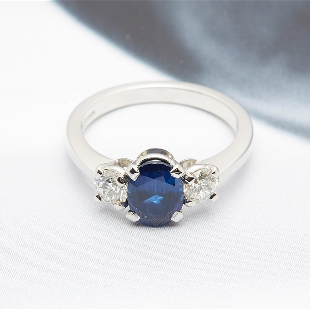 18K White Gold 18K White Gold 2.20cts Sapphire and Diamond Trilogy Ring