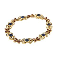 Fasoli 18k Yellow Gold Sapphire, Ruby & Diamond Bracelet
