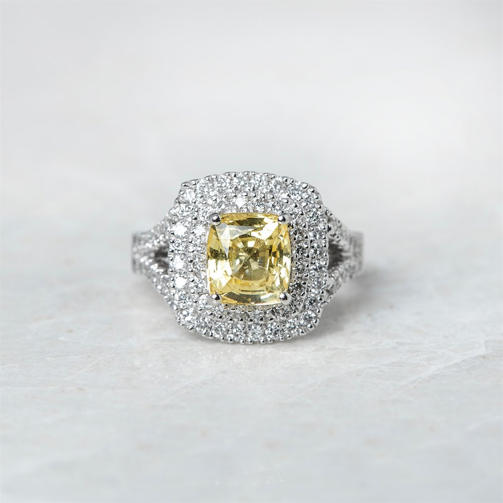 Platinum Cushion Cut 3.56ct Yellow Sapphire & 0.85ct Diamond Ring
