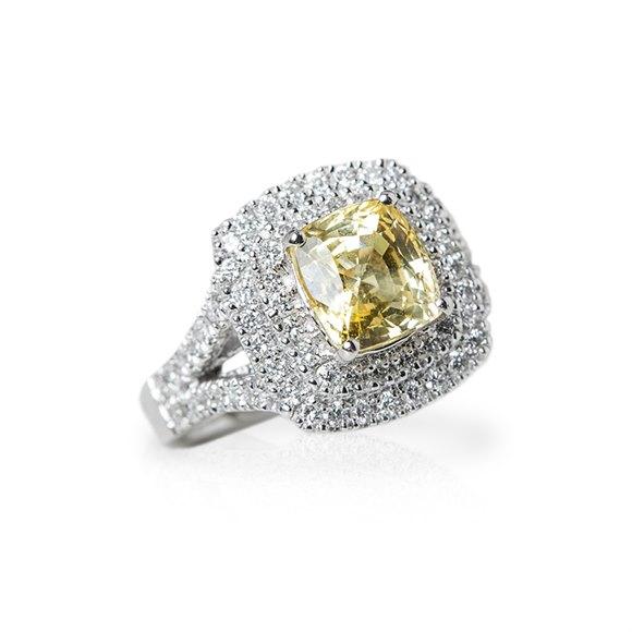 Platinum Cushion Cut 3.56ct Yellow Sapphire & 0.85ct Diamond Ring