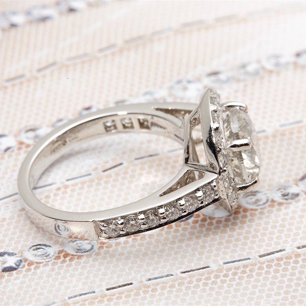 Platinum, total weight 7.82 grams Platinum 2.46ct Round Brilliant Cut Diamond Ring