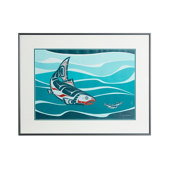 Salmon Original Framed Watercolour By Jim Gilbert 1997