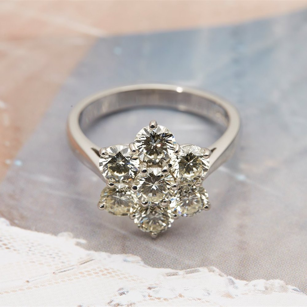 18k White Gold - total weight 6.02 grams  18k White Gold 2.80cts Diamond Flower Cluster Ring
