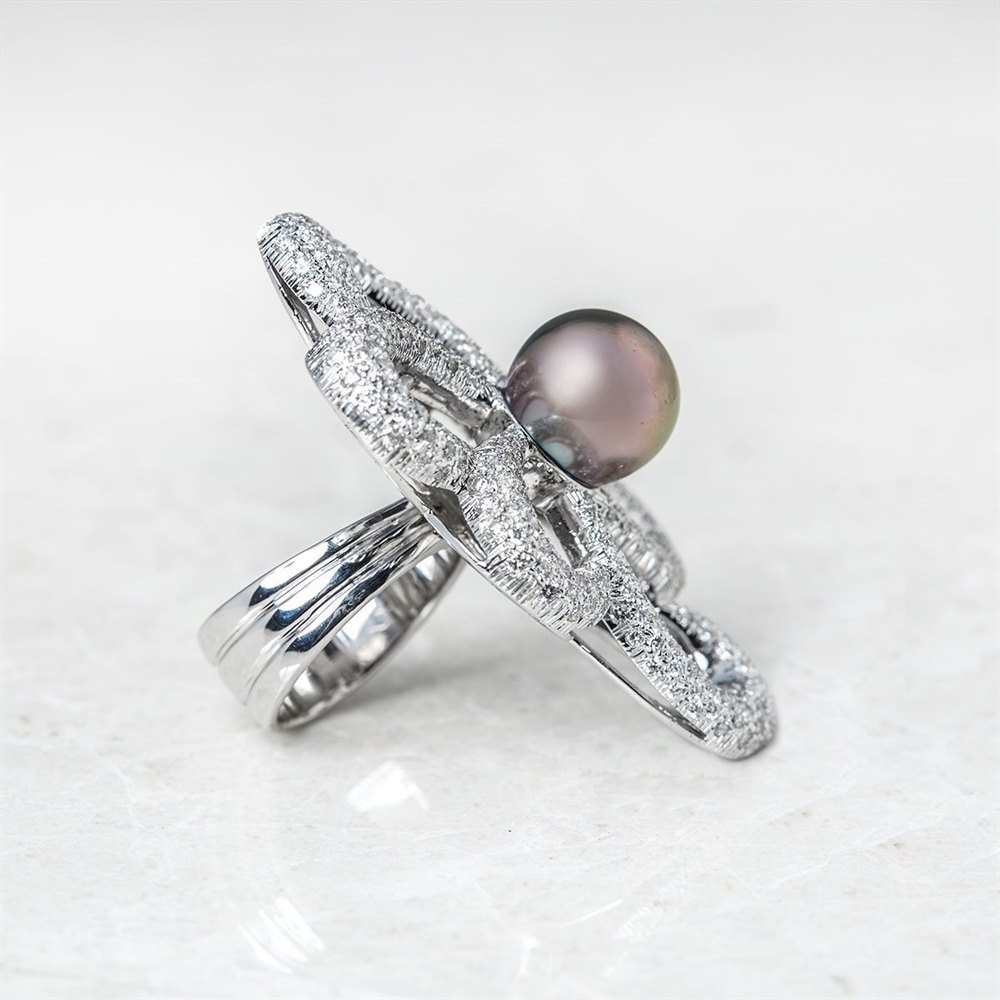 Unbranded 18k White Gold Tahitian Pearl & Diamond Flower Design Ring