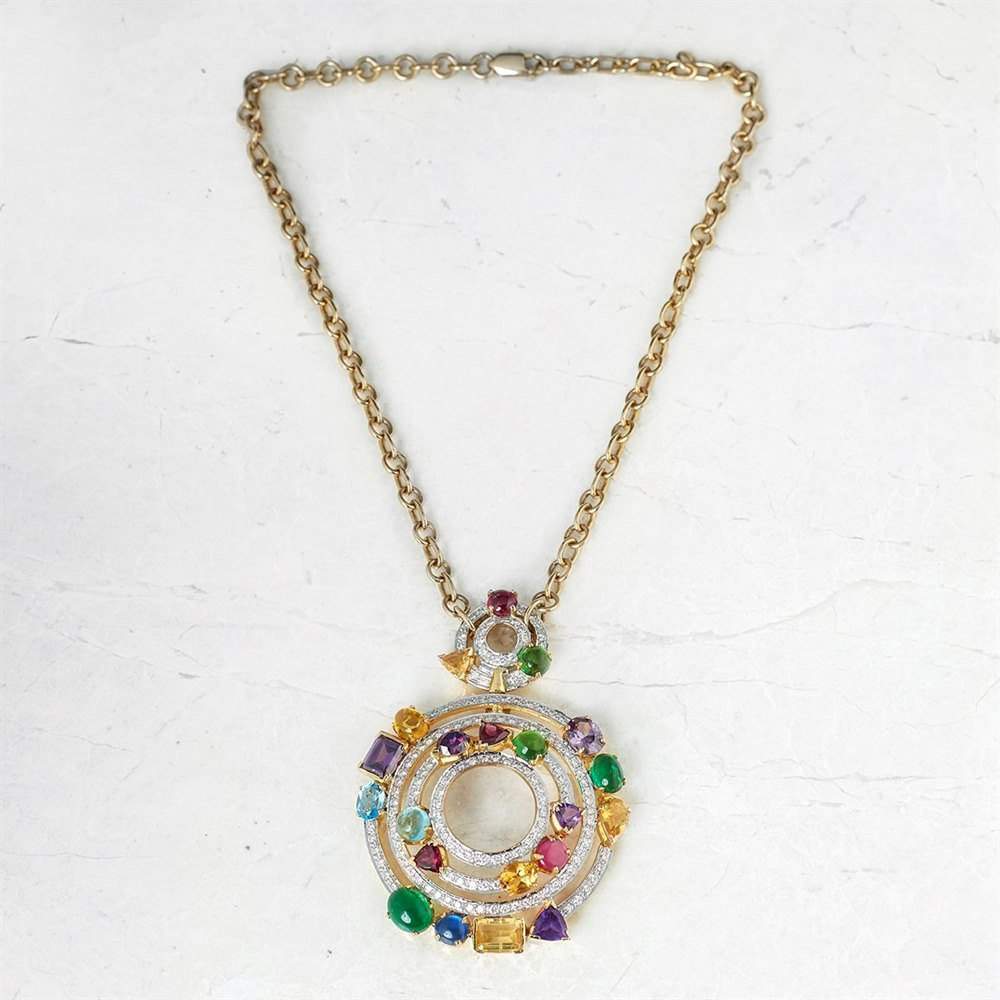 Unbranded 18k Yellow Gold Tourmaline & Diamond Round Circles Pendant Necklace