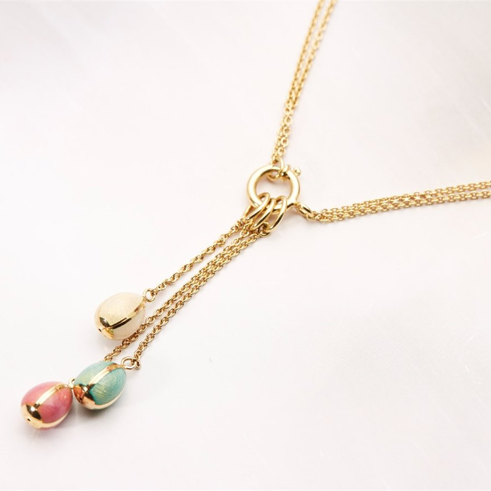 Fabergé 18k Yellow Gold Enamel Egg Drop Necklace