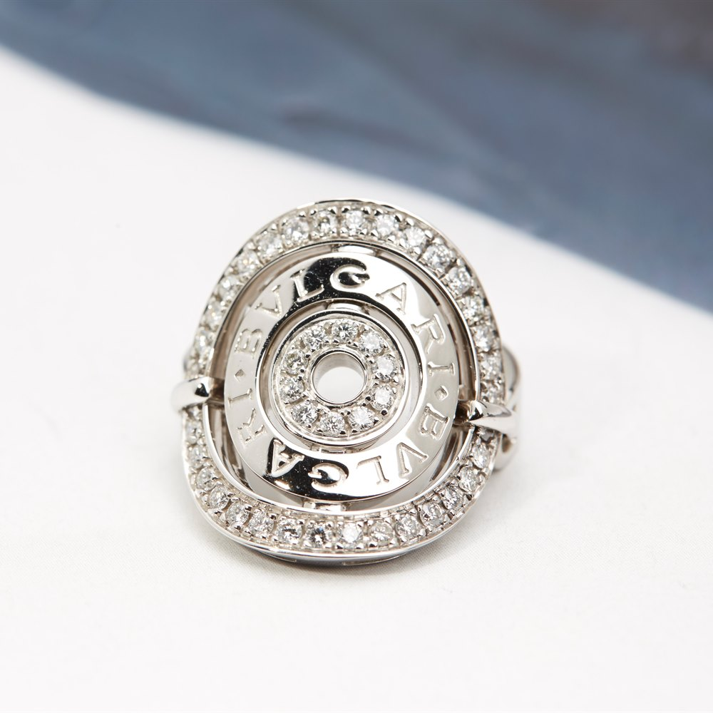 Bvlgari 18k White Gold Concentrica Shield Design Ring