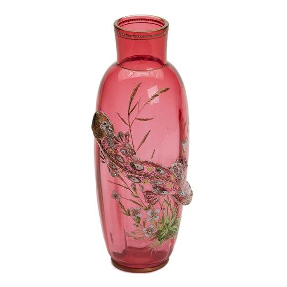 THOMAS WEBB ENAMELLED LIZARD GLASS VASE JULES BARBE c.1888