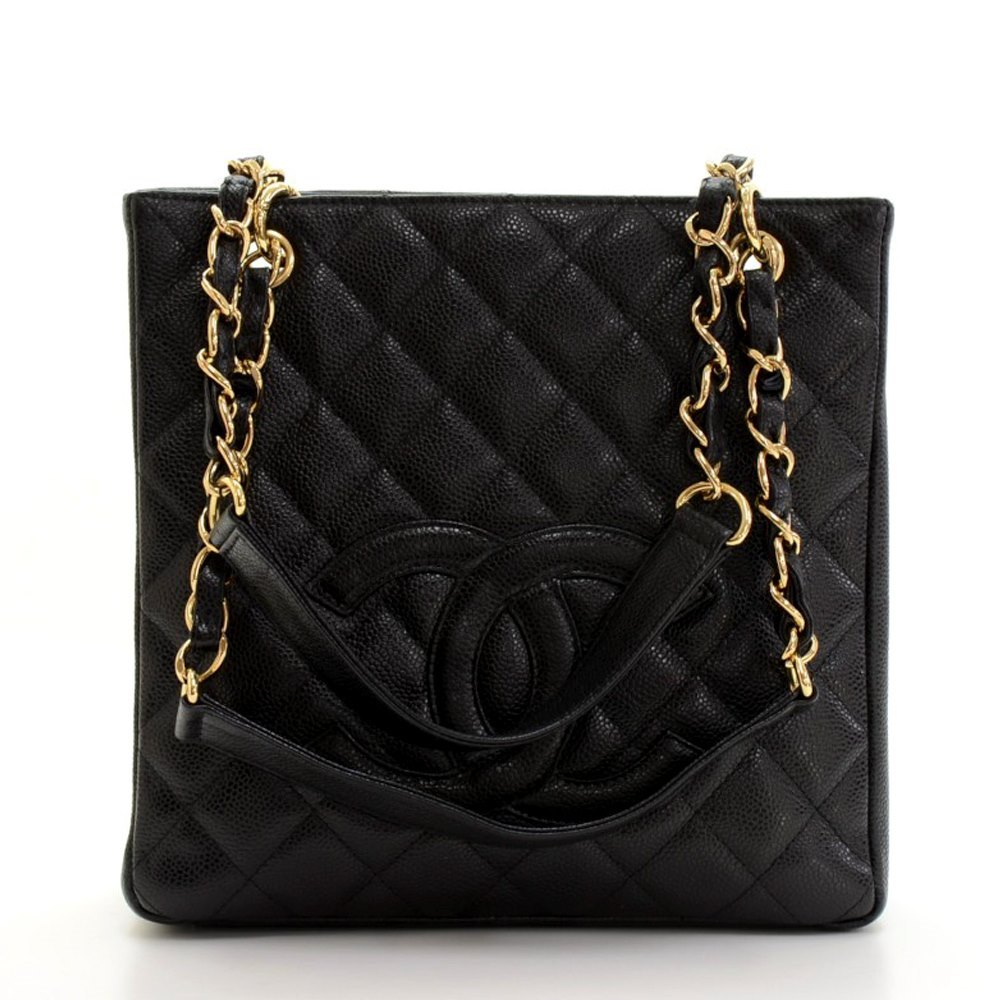 006fdae2e327 Chanel Black Quilted Caviar Leather Petite Shopping Tote PST