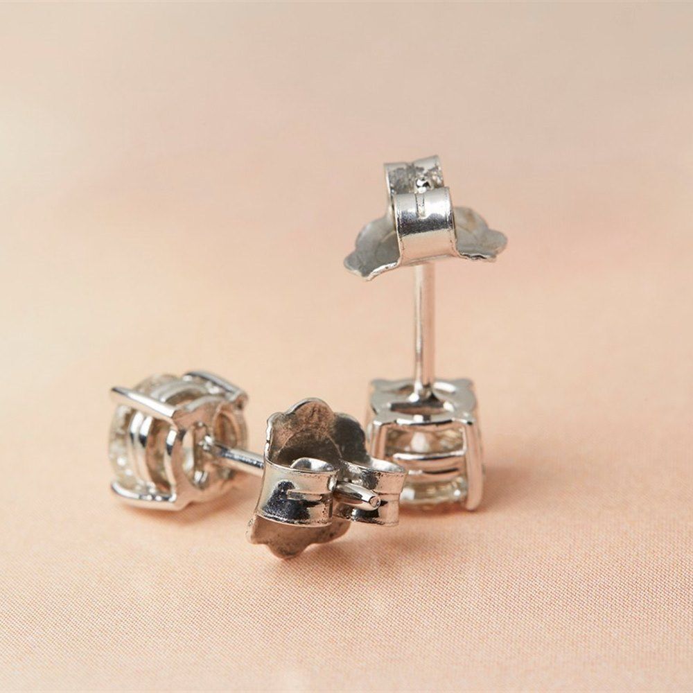 18k White Gold - total weight 1.86 grams 18k White Gold 1.00ct Diamond Stud Earrings