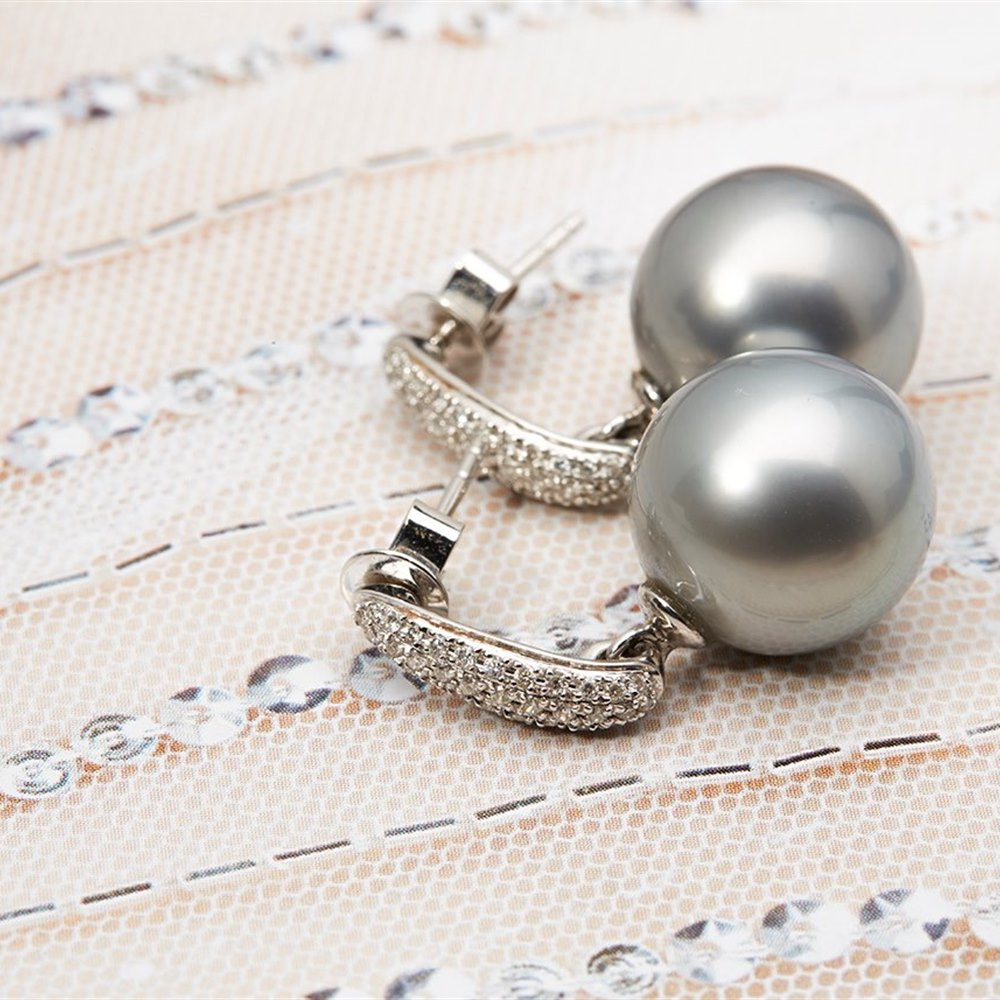 18k White Gold - total weight 8.10 grams 18k White Gold Tahitian Pearl and 0.25ct Diamond Earrings
