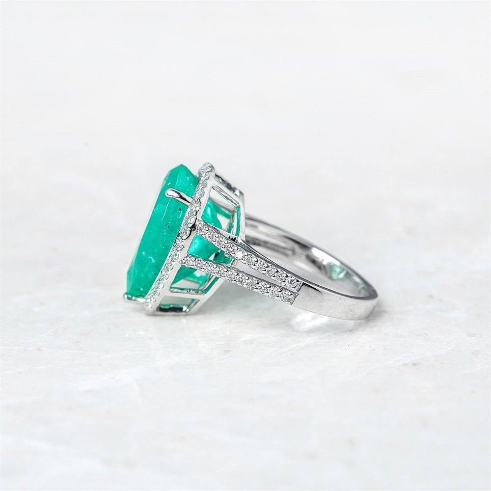 18k White Gold - total weight 7.62 grams  18k White Gold 8.66ct Colombian Emerald & 0.65ct Diamond Ring