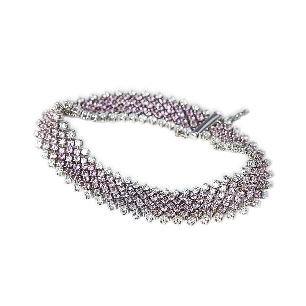 Asprey 18k White Gold 7.00ct Pink Sapphire & 3.15ct Diamond Bracelet