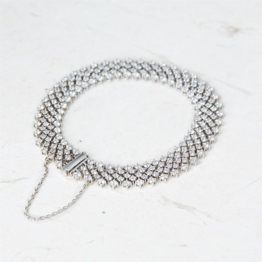 Asprey 18k White Gold 6.50ct Diamond Bracelet