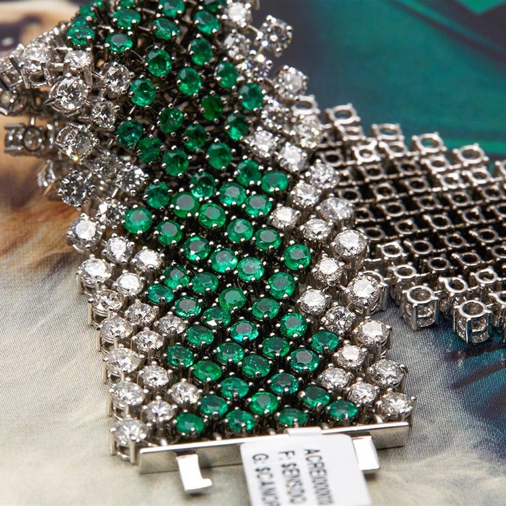 Asprey 18k White Gold Diamond & Emerald Bracelet