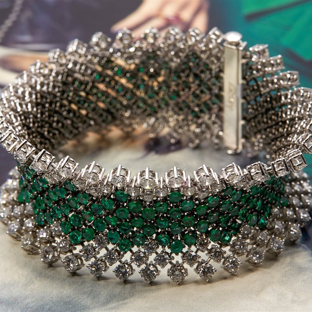 Asprey 18k White Gold Diamond & Emerald Bracelet