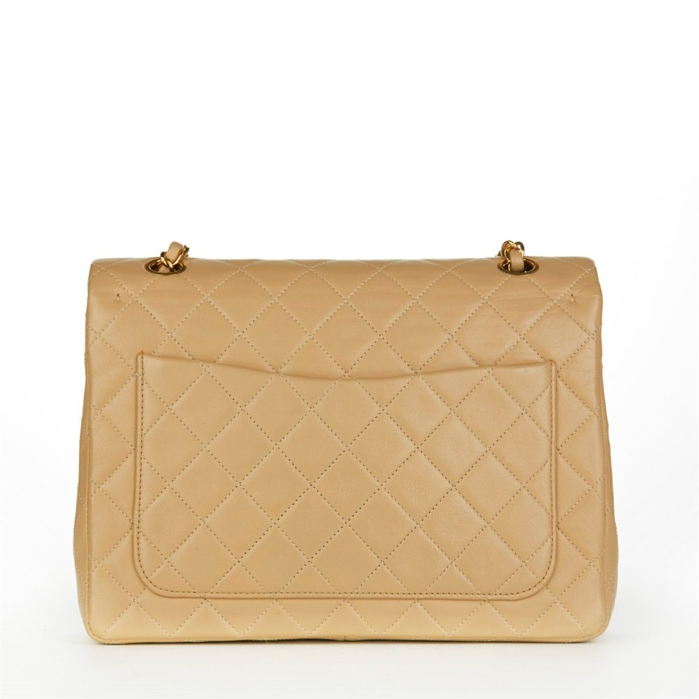 Chanel Beige Quilted Lambskin Vintage Jumbo Classic Double Flap Bag c637bb91d0a3a