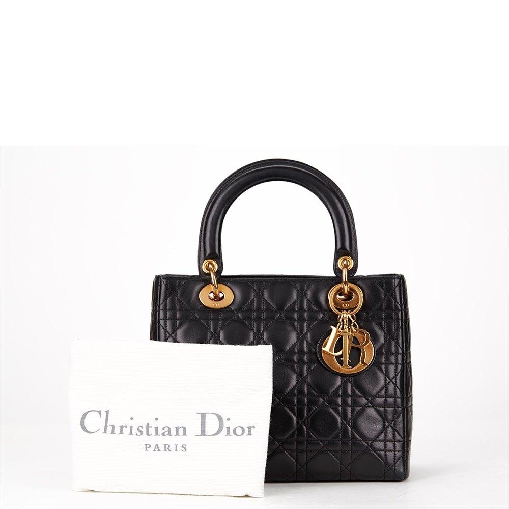 a550df1c4 Christian Dior Black Cannage Leather Lady Dior MM