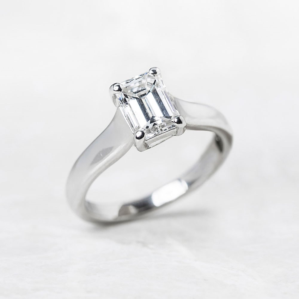Diamond Platinum Emerald Cut 1.12ct Diamond Engagement Ring
