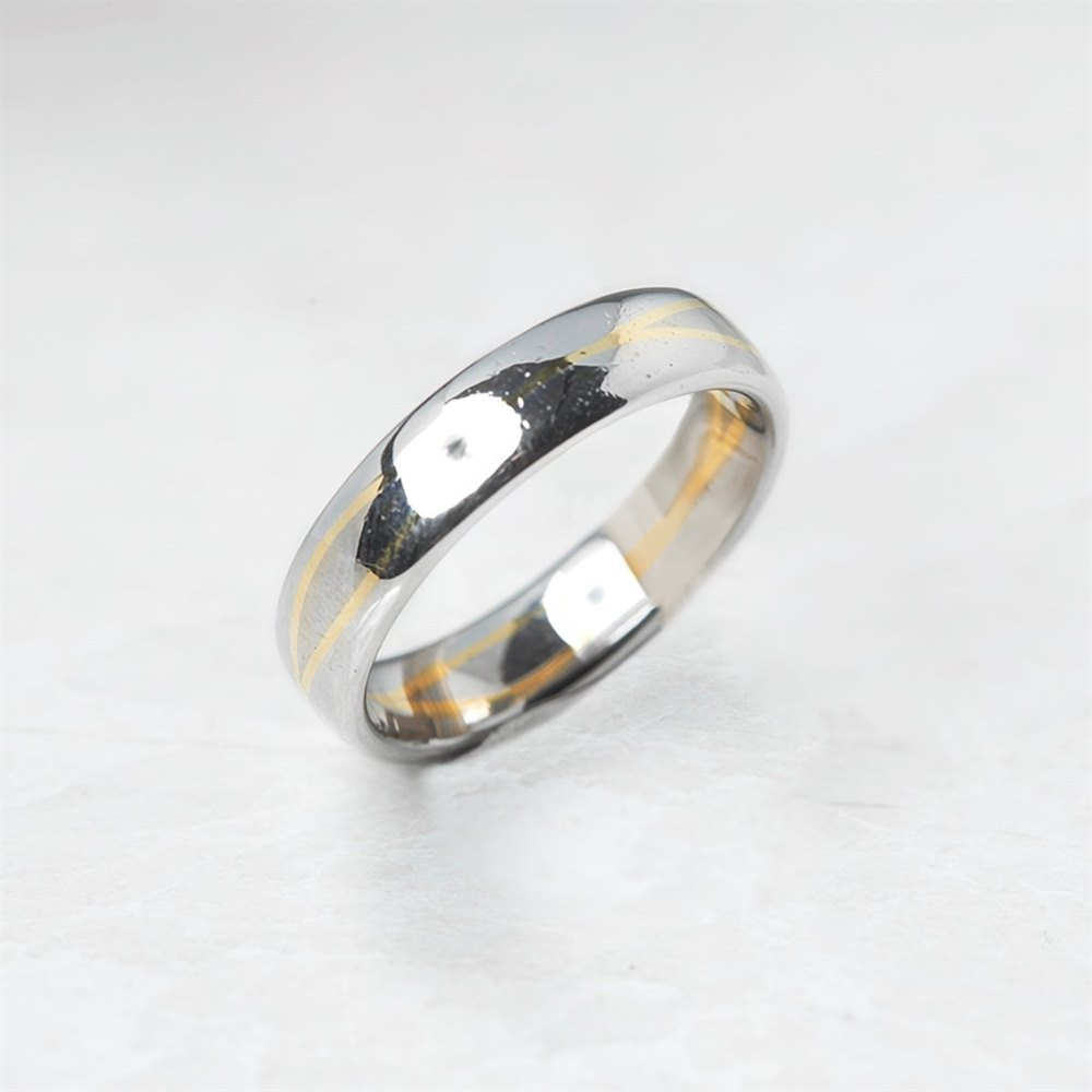 Bi-Colour Platinum & 18k Yellow Gold Wedding Band