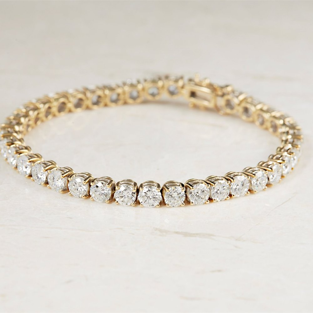 18k Yellow Gold 13.00ct Diamond Tennis Bracelet