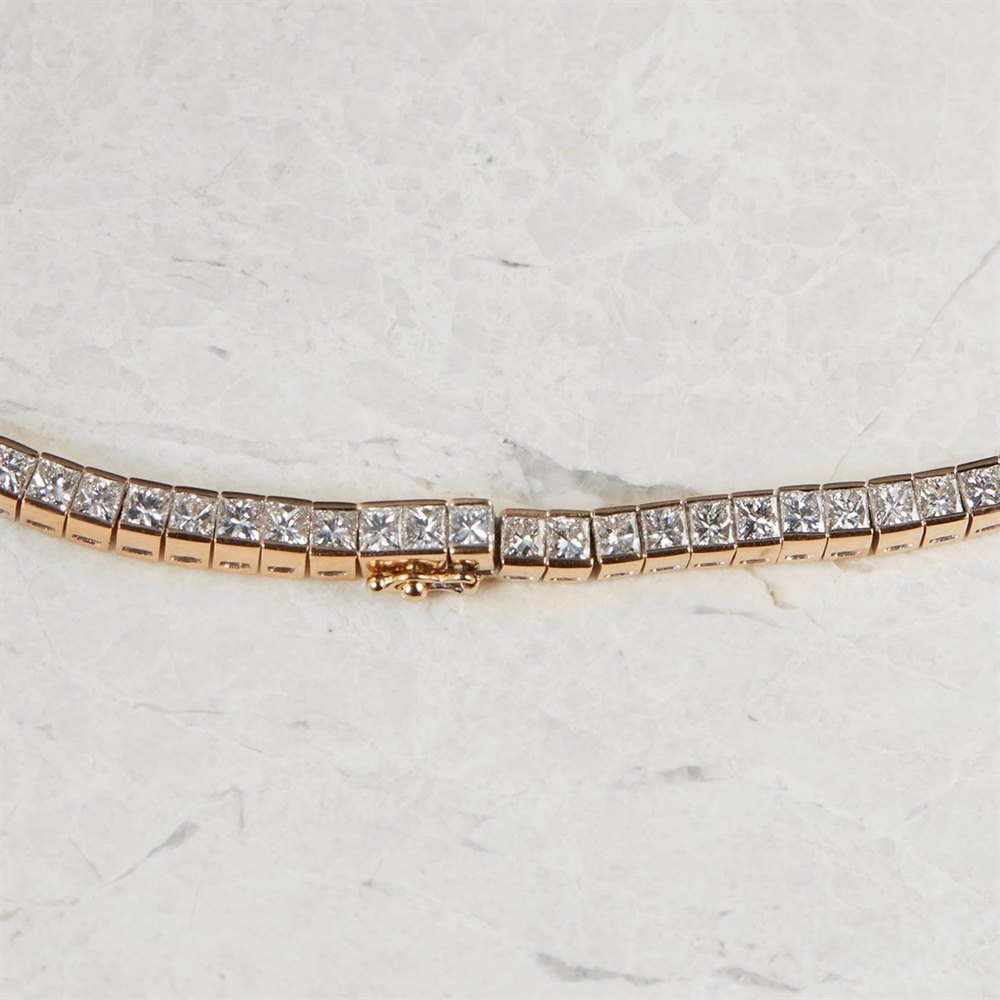 Diamond 18k Rose Gold Princess Cut 20.00ct Diamond Necklace