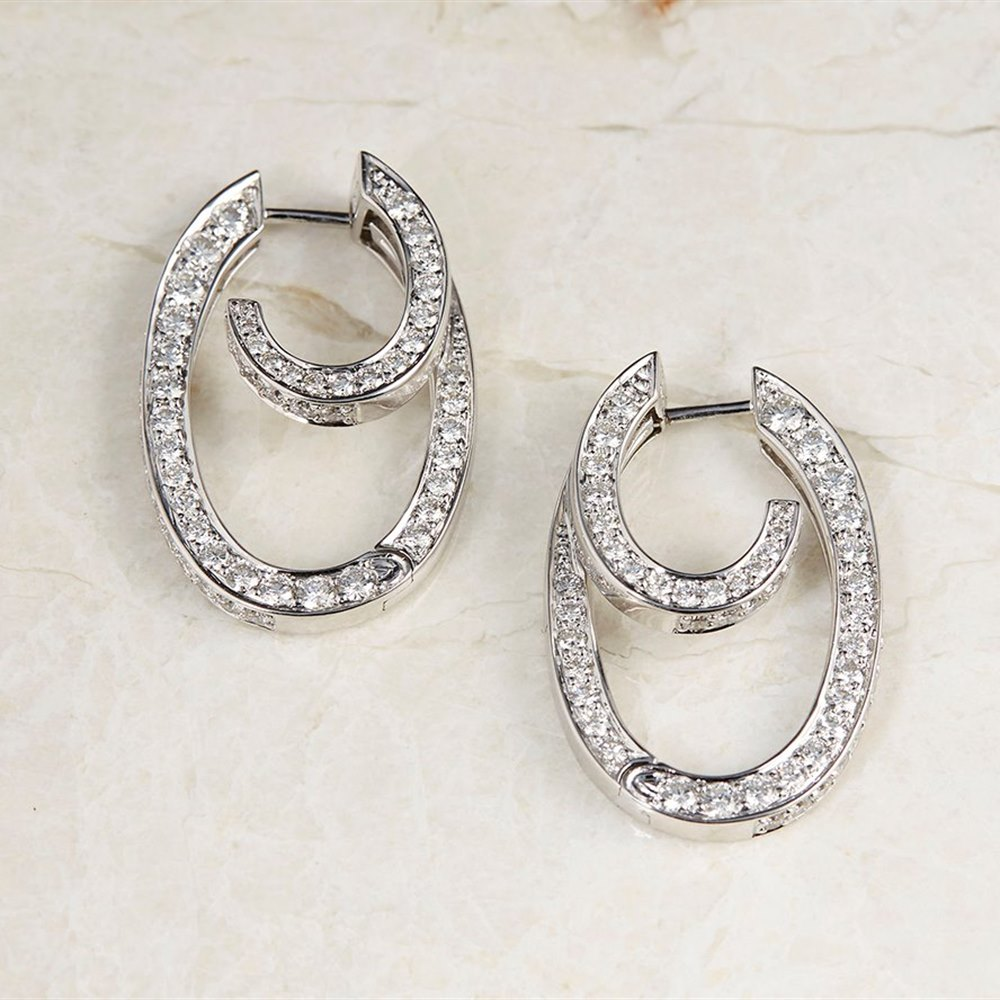 18k White Gold - total weight 11.89 grams  18k White Gold 2.00ct Diamond Hoop Earrings