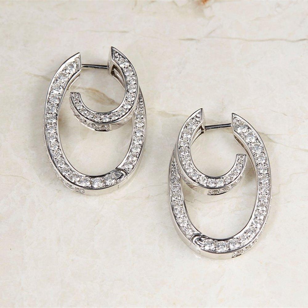 18k White Gold - total weight 11.89 grams 18k White Gold 2.00ct Diamond Hoop Earrings