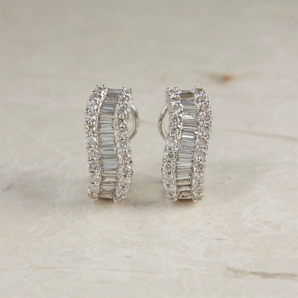 18k White Gold 2.50ct Diamond Hoop Earrings