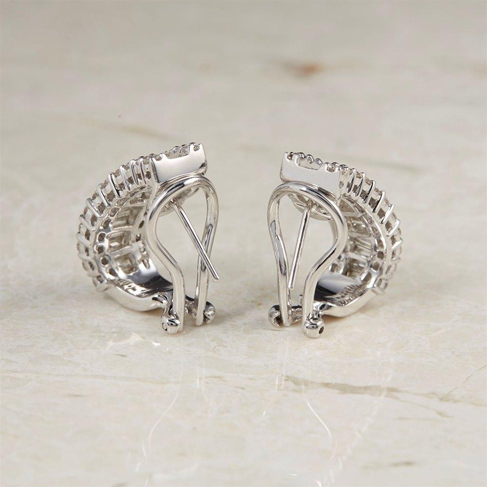 18k White Gold - total weight 10.24 grams 18k White Gold 2.50ct Diamond Hoop Earrings