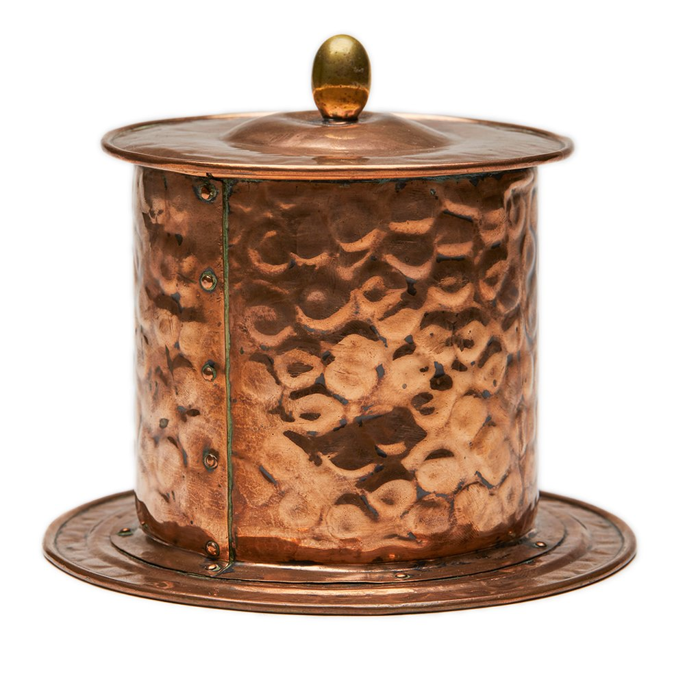 Arts & Crafts Copper Mounted Pottery Tobacco Jar C.1890 Circa 1890