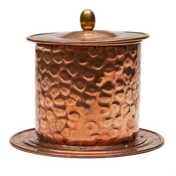 Arts & Crafts Copper Mounted Pottery Tobacco Jar C.1890