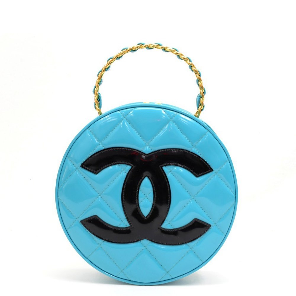6c7f7237cef5 Chanel Blue Quilted Patent Leather Vintage Round Timeless Vanity Handbag