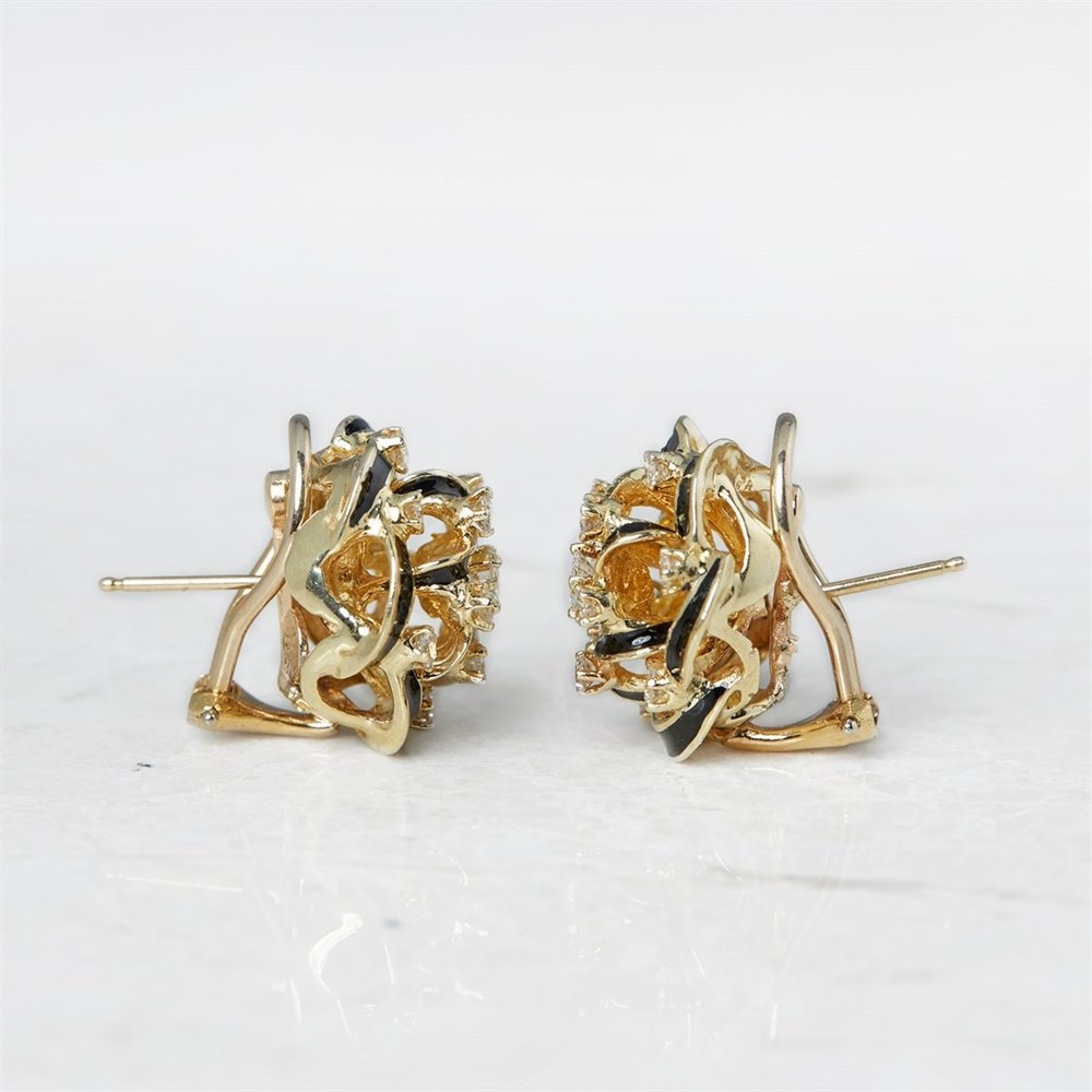 14k Yellow Gold, total weight - 15.90 grams  14k Yellow Gold 2.80ct Diamond Black Enamel Earrings