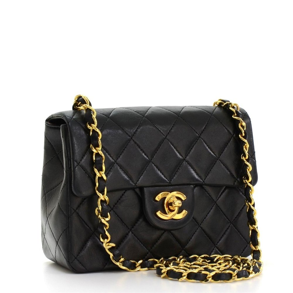 5f370e2a42e2 Chanel Black Quilted Lambskin Vintage Mini Flap Bag