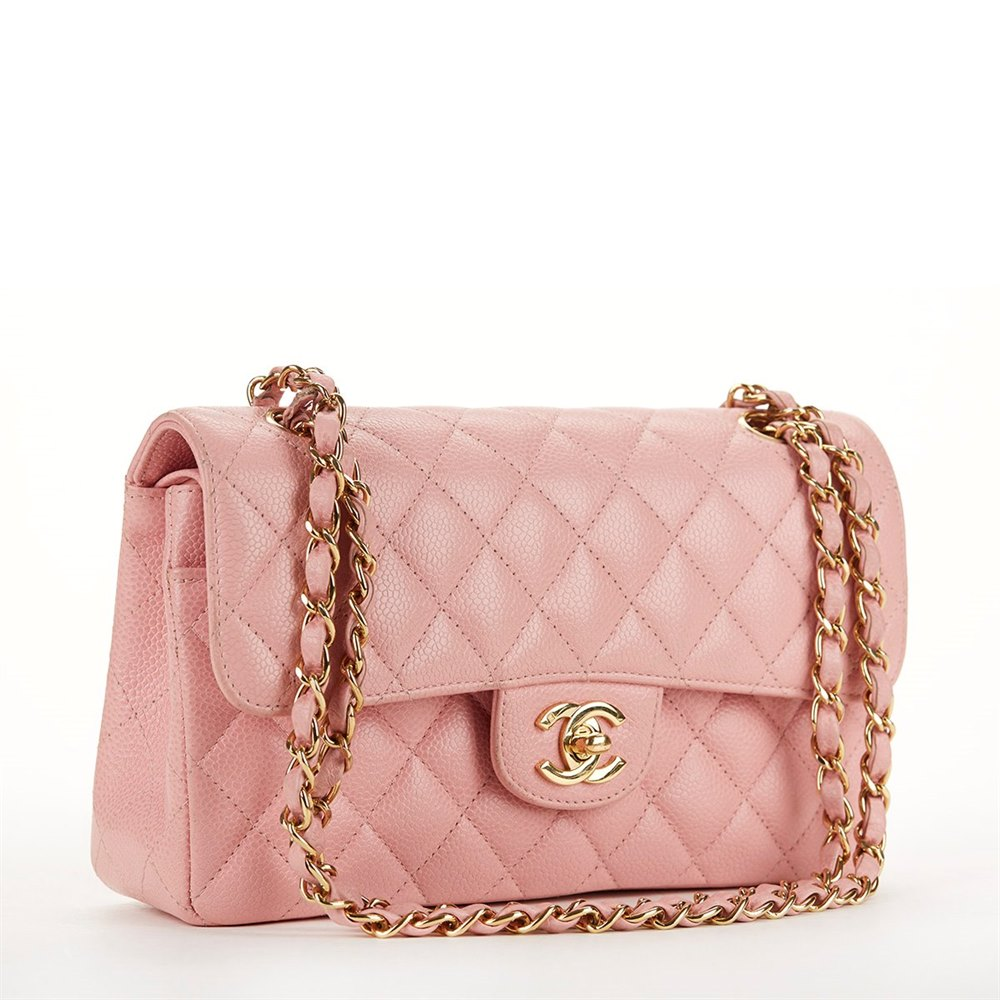 Chanel Pink Caviar Leather Small Classic Double Flap Bag