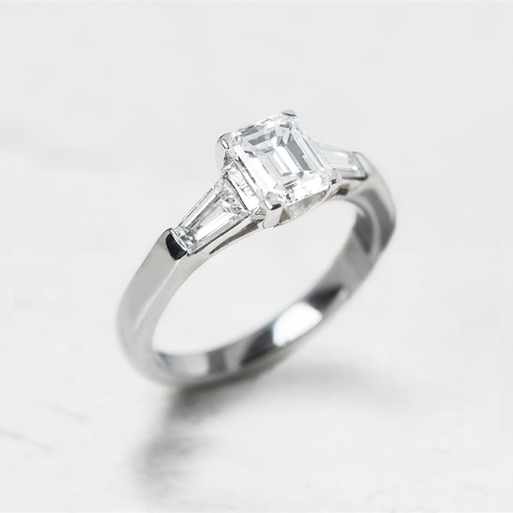 Platinum, total weight - 5.78 grams  Platinum Emerald Cut 1.02ct Diamond Ring