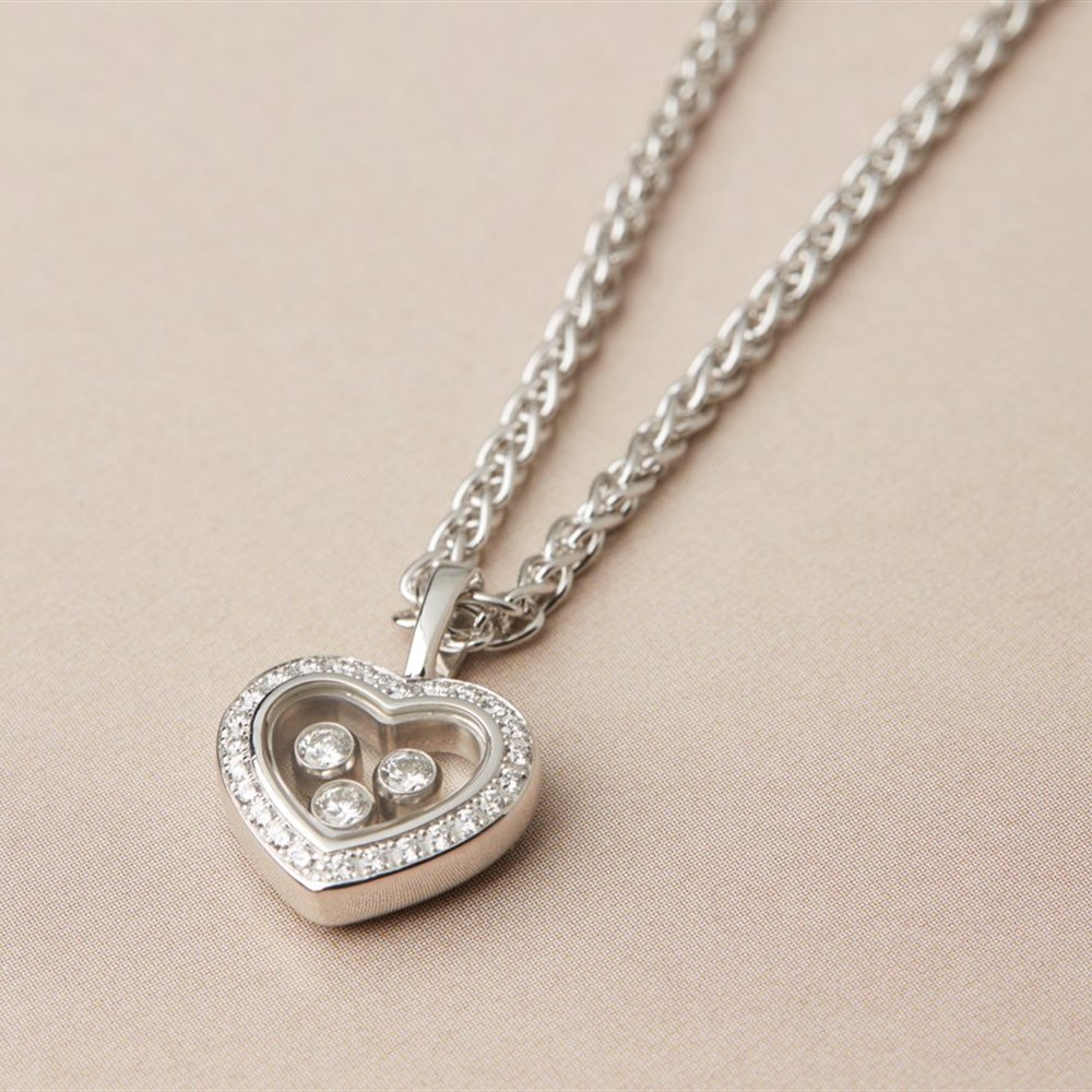 Chopard 18k White Gold Happy Diamonds Heart Necklace