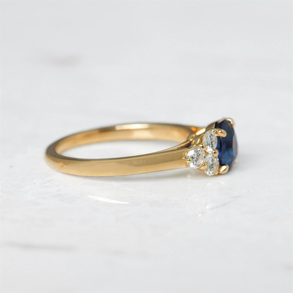 Cartier 18k Yellow Gold 1.37ct Sapphire & 0.50ct Diamond Ring