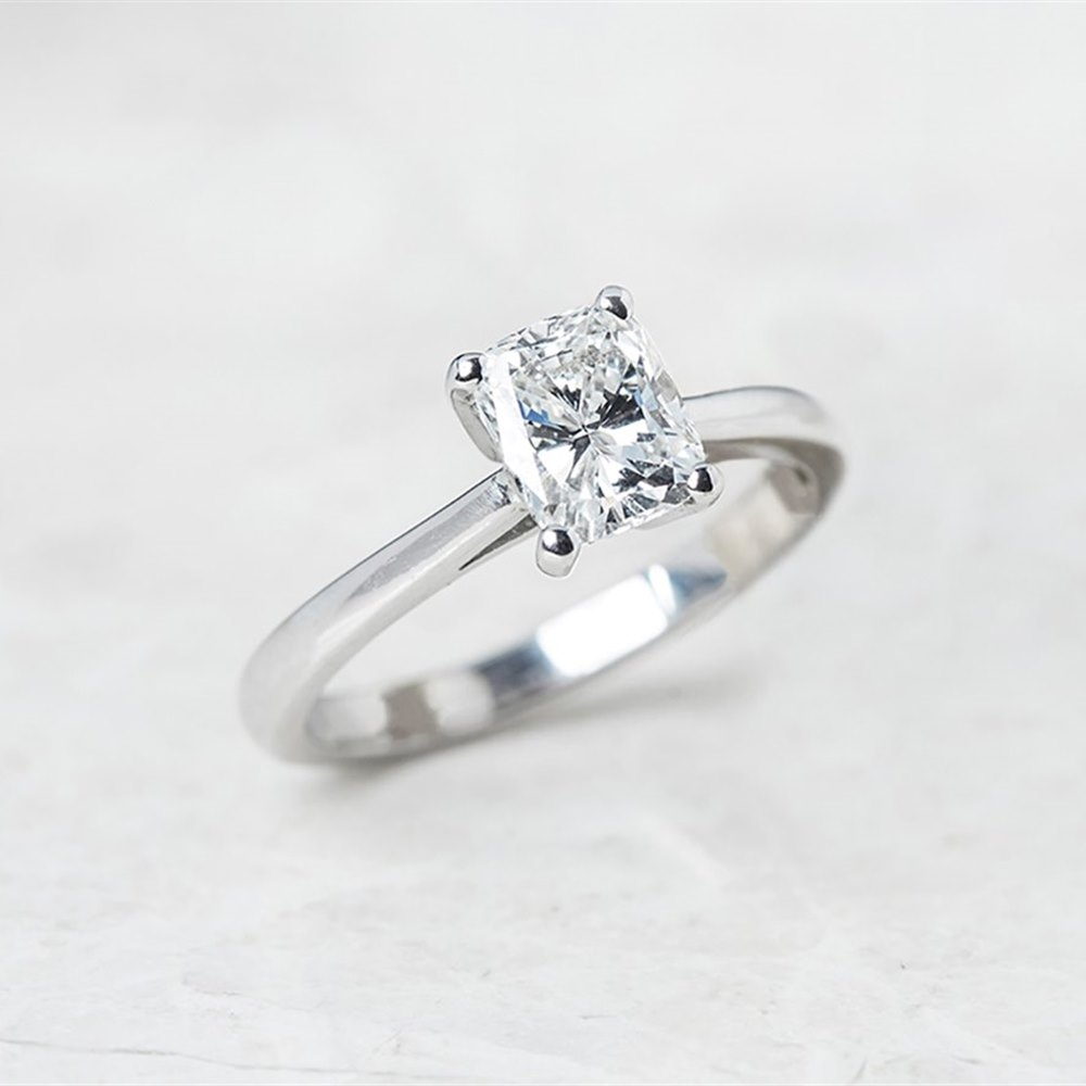 18k White Gold, total weight - 3.53 grams  18k White Gold Cushion Cut 1.03ct Diamond Ring