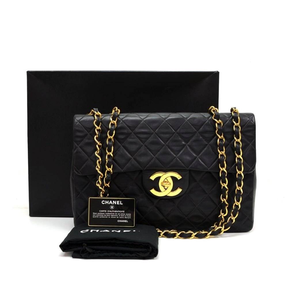 c7ace3dd439bf Chanel Black Quilted Lambskin Vintage Maxi Jumbo XL Flap Bag