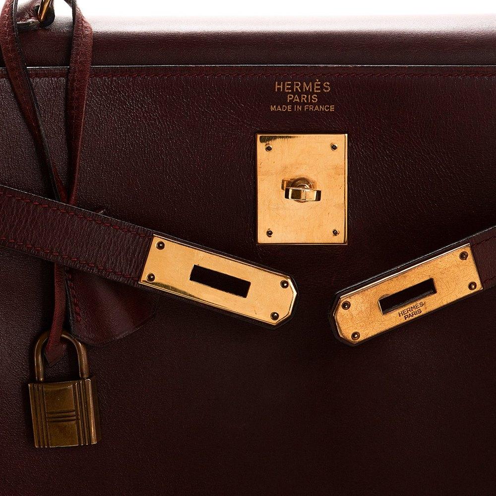a463ccd633cc Hermès Rouge H Box Calf Leather Vintage Kelly Retourne 32