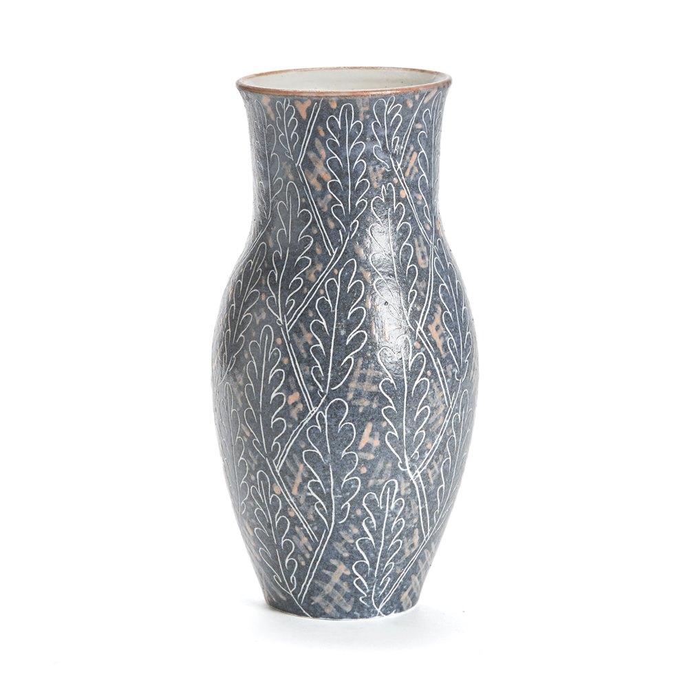 Vintage Van Der Straeten Studio Pottery Leaf Vase 1965 Dated 1965