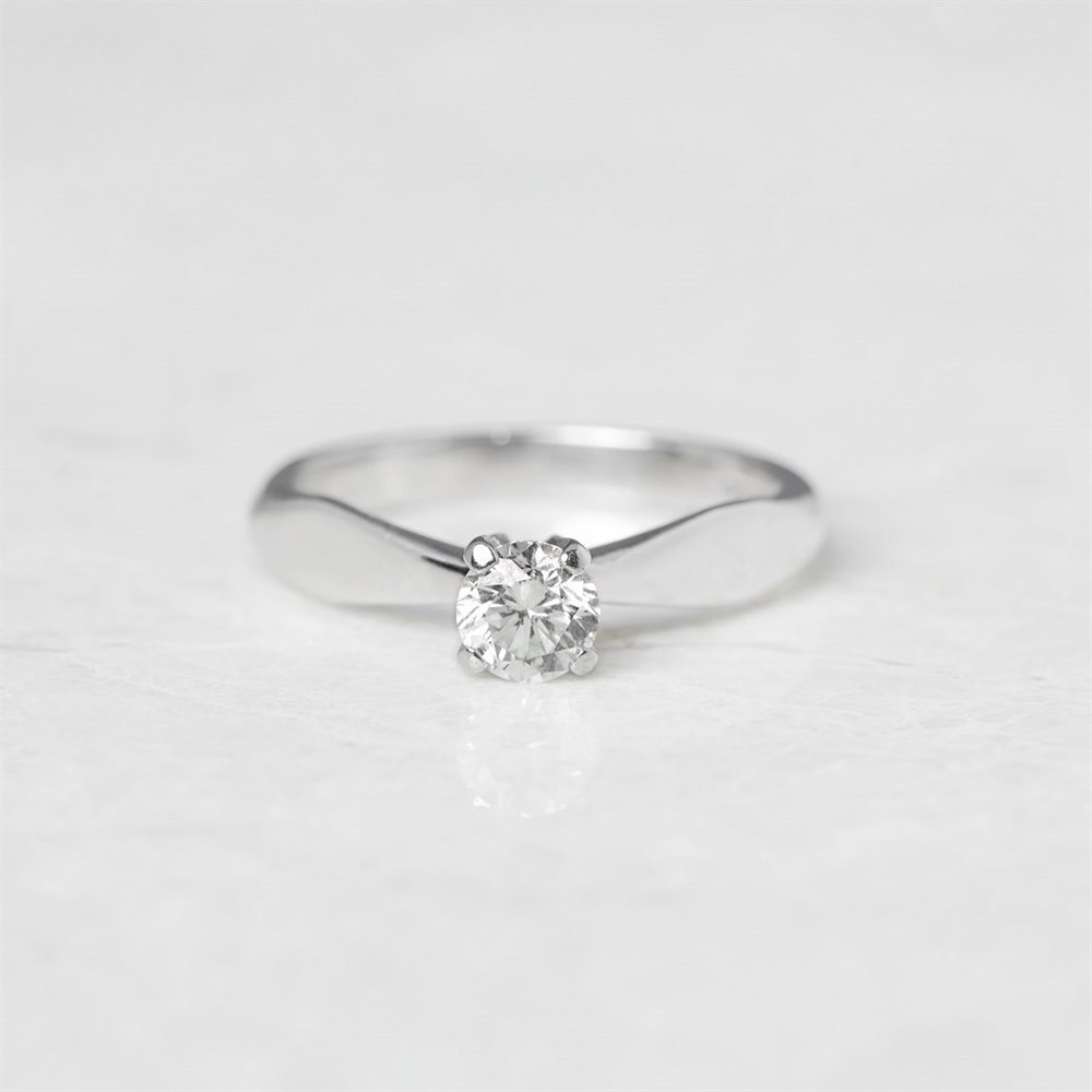 Diamond  18k White Gold Round Brilliant Cut 0.52ct Diamond Engagement Ring